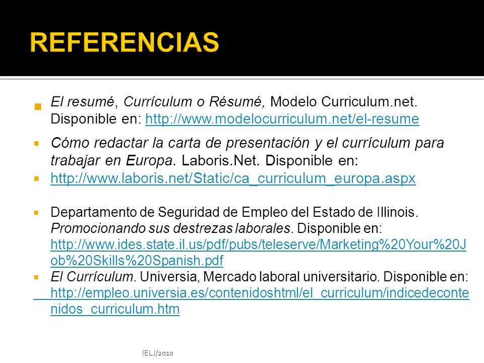 El resumé, Currículum o Résumé, Modelo Curriculum.net.