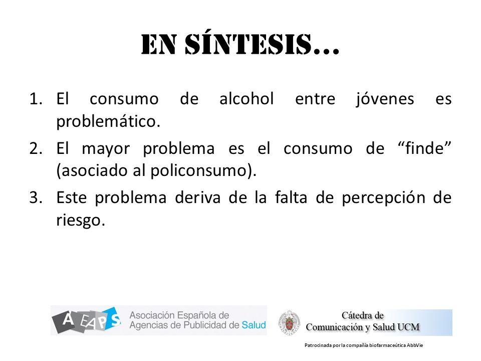 En síntesis… 1.El consumo de alcohol entre jóvenes es problemático. 2.El mayor problema es el consumo de finde (asociado al policonsumo). 3.Este probl