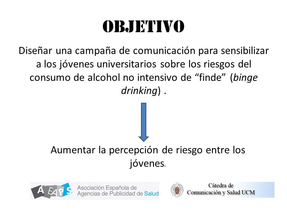 Objetivo Diseñar una campaña de comunicación para sensibilizar a los jóvenes universitarios sobre los riesgos del consumo de alcohol no intensivo de f