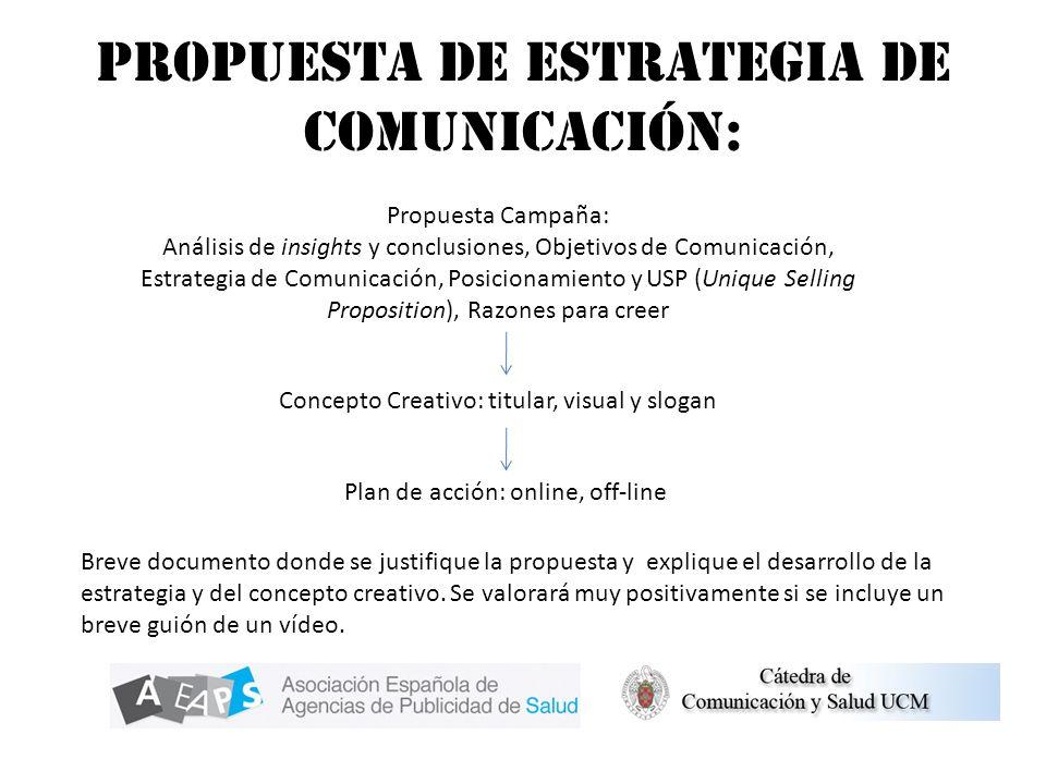 Propuesta de estrategia de comunicación: Propuesta Campaña: Análisis de insights y conclusiones, Objetivos de Comunicación, Estrategia de Comunicación