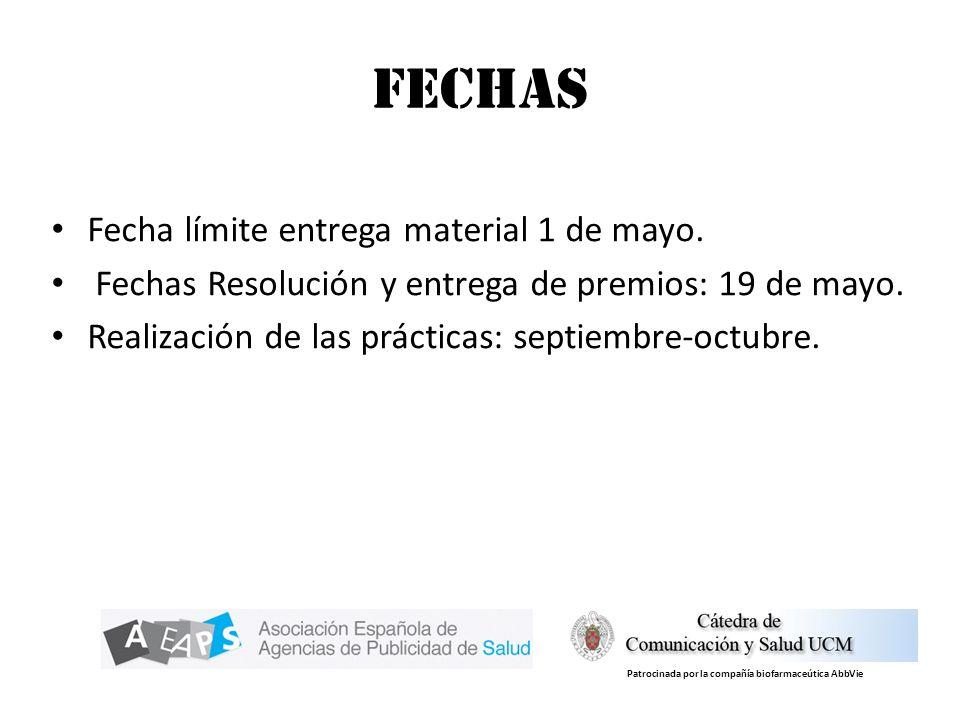 Fechas Fecha límite entrega material 1 de mayo. Fechas Resolución y entrega de premios: 19 de mayo. Realización de las prácticas: septiembre-octubre.