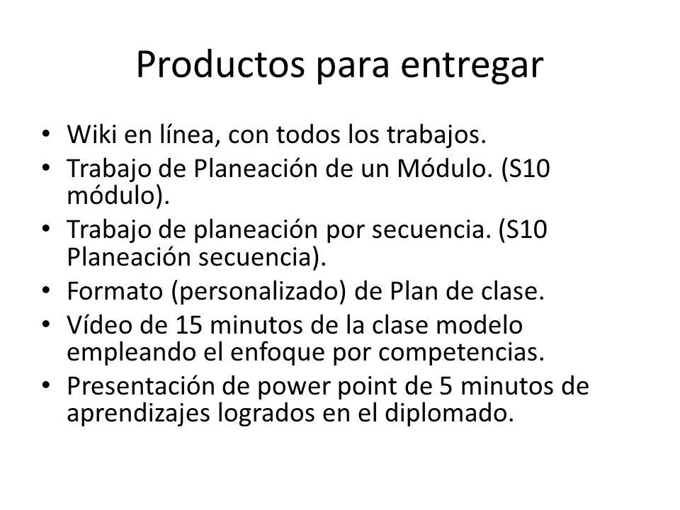 Productos para entregar Wiki en línea, con todos los trabajos. Trabajo de Planeación de un Módulo. (S10 módulo). Trabajo de planeación por secuencia.