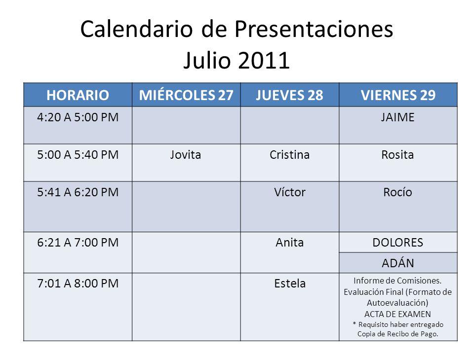 Calendario de Presentaciones Julio 2011 HORARIOMIÉRCOLES 27JUEVES 28VIERNES 29 4:20 A 5:00 PMJAIME 5:00 A 5:40 PMJovitaCristinaRosita 5:41 A 6:20 PMVí