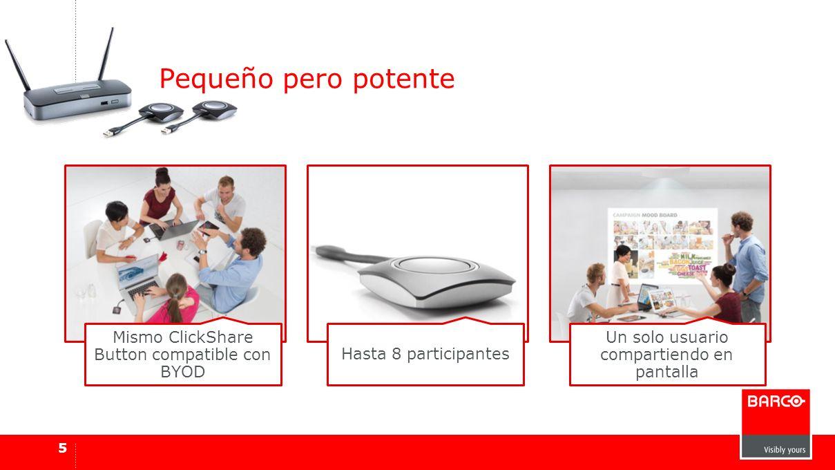 Mismo ClickShare Button compatible con BYOD Hasta 8 participantes Un solo usuario compartiendo en pantalla Pequeño pero potente 5