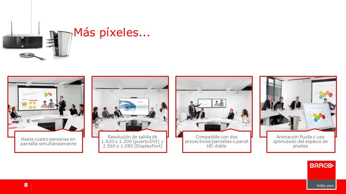 8 Más píxeles... Hasta cuatro personas en pantalla simultáneamente Resolución de salida de 1.920 x 1.200 (puerto DVI) y 2.560 x 1.080 (DisplayPort) Co