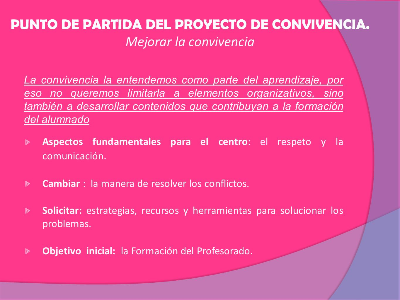 PUNTO DE PARTIDA DEL PROYECTO DE CONVIVENCIA.