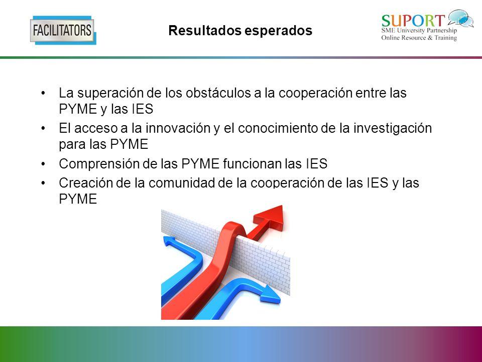Resultados esperados La superación de los obstáculos a la cooperación entre las PYME y las IES El acceso a la innovación y el conocimiento de la investigación para las PYME Comprensión de las PYME funcionan las IES Creación de la comunidad de la cooperación de las IES y las PYME