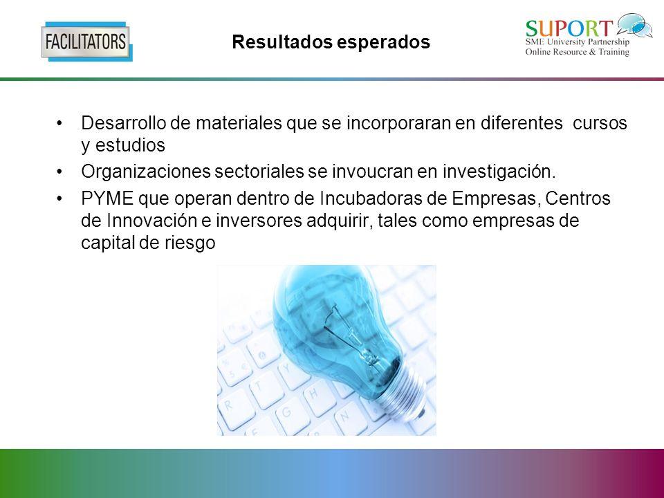 Resultados esperados Desarrollo de materiales que se incorporaran en diferentes cursos y estudios Organizaciones sectoriales se invoucran en investigación.