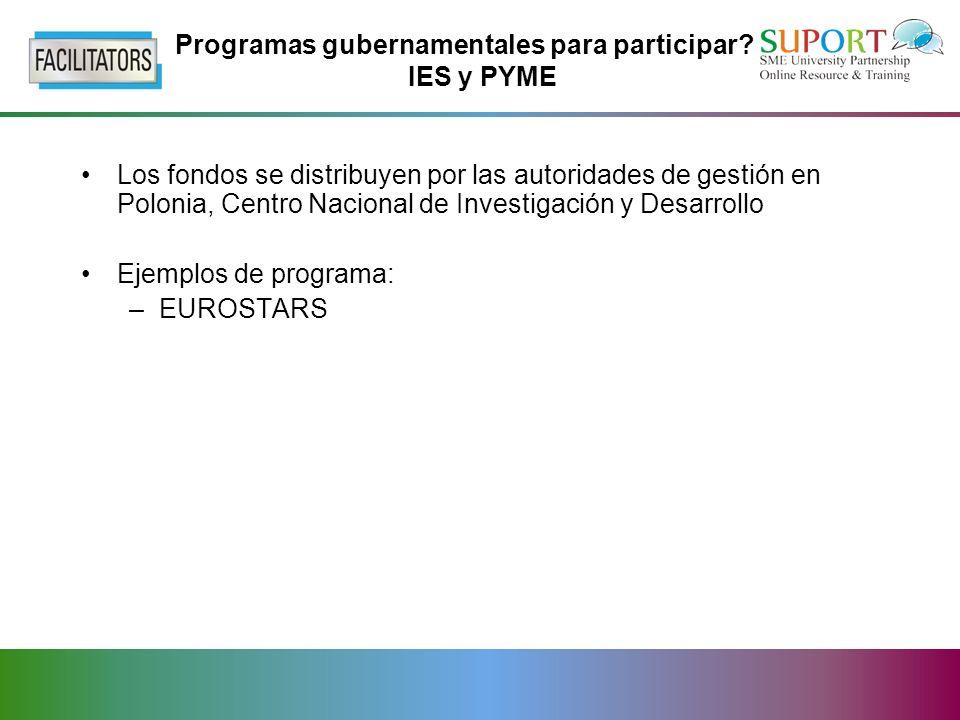 Programas gubernamentales para participar.