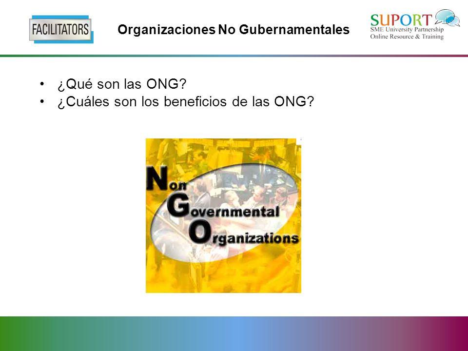 Organizaciones No Gubernamentales ¿Qué son las ONG? ¿Cuáles son los beneficios de las ONG?