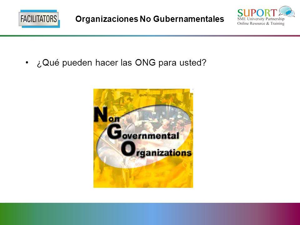 Organizaciones No Gubernamentales ¿Qué pueden hacer las ONG para usted