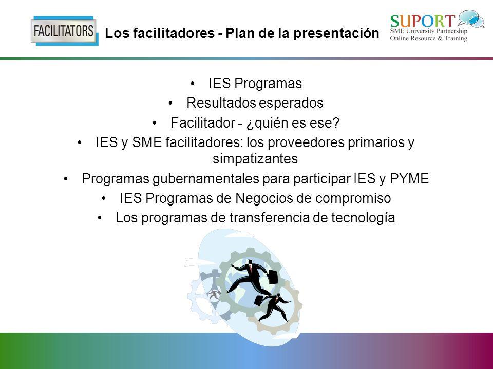 Los facilitadores - Plan de la presentación IES Programas Resultados esperados Facilitador - ¿quién es ese.