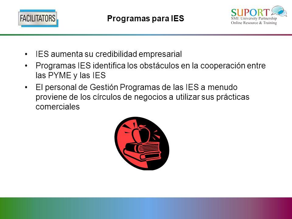 Programas para IES IES aumenta su credibilidad empresarial Programas IES identifica los obstáculos en la cooperación entre las PYME y las IES El personal de Gestión Programas de las IES a menudo proviene de los círculos de negocios a utilizar sus prácticas comerciales