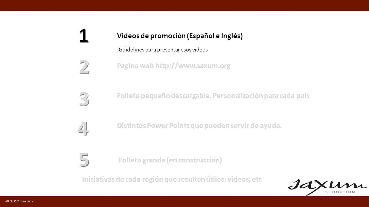 Videos de promoción (Español e Inglés) Pagina web http://www.saxum.org Guidelines para presentar esos videos Folleto pequeño descargable. Personalizac