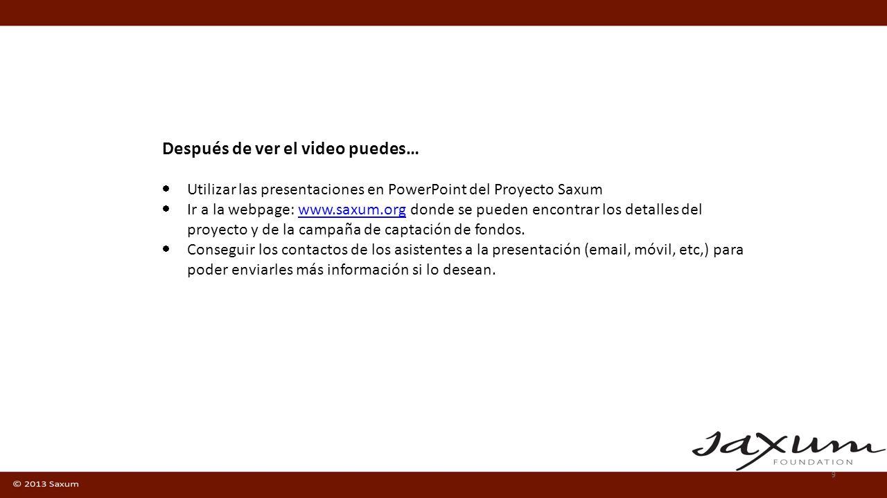 Videos de promoción (Español e Inglés) Pagina web http://www.saxum.orghttp://www.saxum.org Guidelines para presentar esos videos Folleto pequeño descargable.