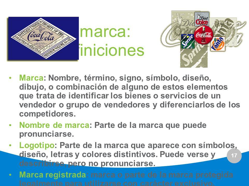 17 La marca: definiciones Marca: Nombre, término, signo, símbolo, diseño, dibujo, o combinación de alguno de estos elementos que trata de identificar