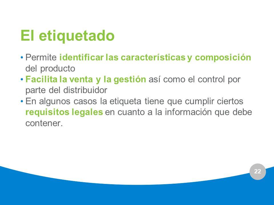 22 El etiquetado Permite identificar las características y composición del producto Facilita la venta y la gestión así como el control por parte del d