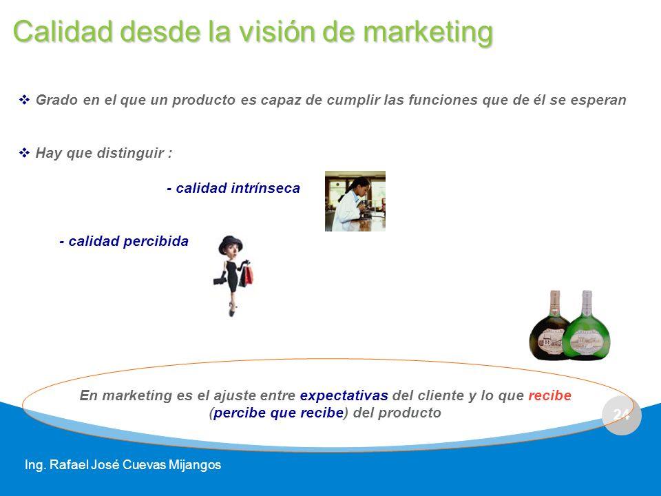 24 Ing. Rafael José Cuevas Mijangos Grado en el que un producto es capaz de cumplir las funciones que de él se esperan Hay que distinguir : - calidad