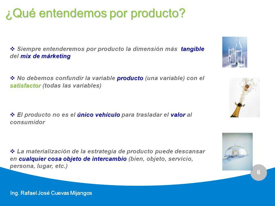 6 Ing. Rafael José Cuevas Mijangos tangible mix de márketing Siempre entenderemos por producto la dimensión más tangible del mix de márketing producto