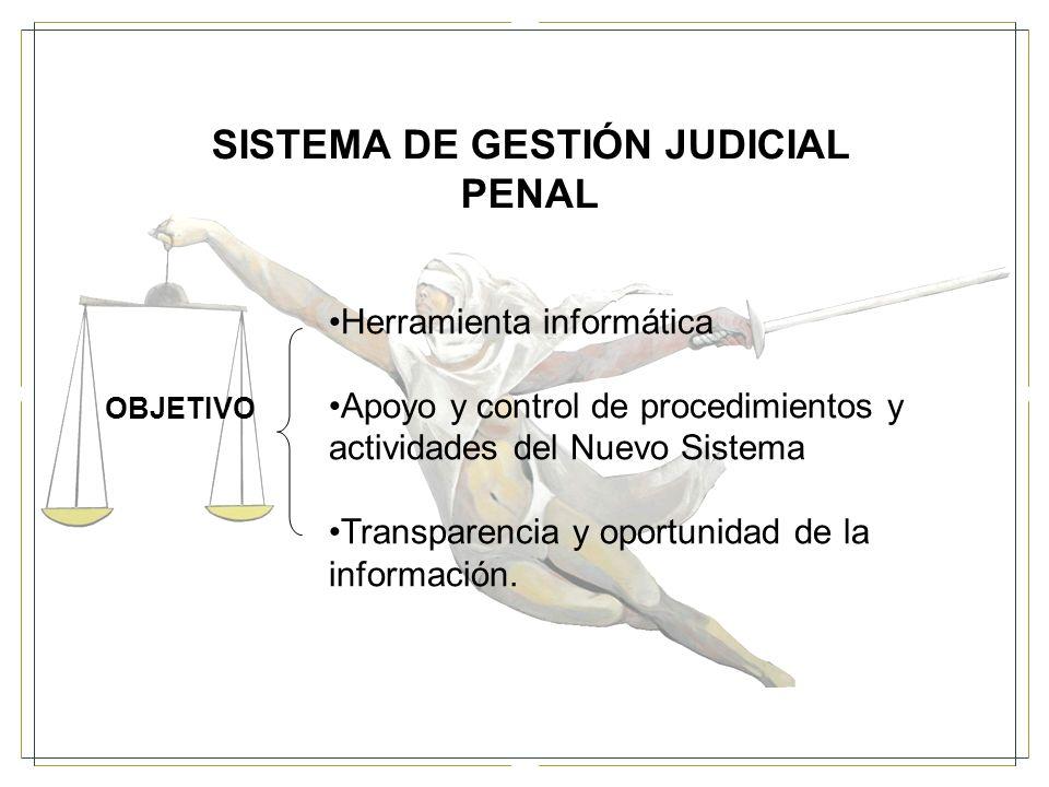 SISTEMA DE GESTIÓN JUDICIAL PENAL OBJETIVO Herramienta informática Apoyo y control de procedimientos y actividades del Nuevo Sistema Transparencia y oportunidad de la información.