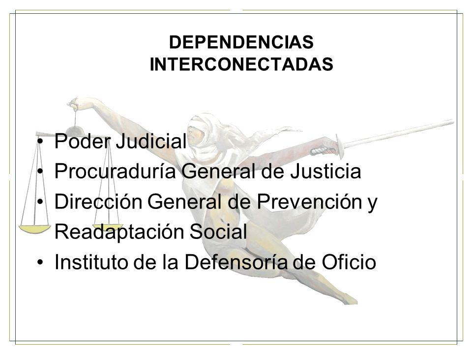 DEPENDENCIAS INTERCONECTADAS Poder Judicial Procuraduría General de Justicia Dirección General de Prevención y Readaptación Social Instituto de la Defensoría de Oficio