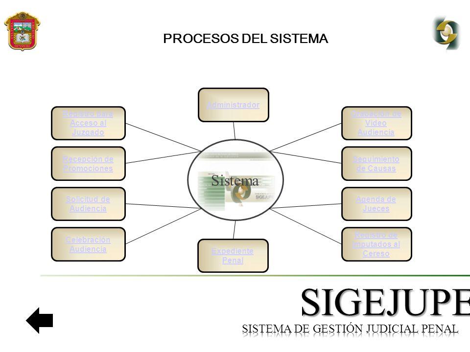 SIGEJUPE PROCESOS DEL SISTEMA Registro para Acceso al Juzgado Recepción de Promociones Solicitud de Audiencia Sistema Seguimiento de Causas Celebración Audiencia Grabación de Video Audiencia Agenda de Jueces Registro de Imputados al Cereso Administrador Expediente Penal