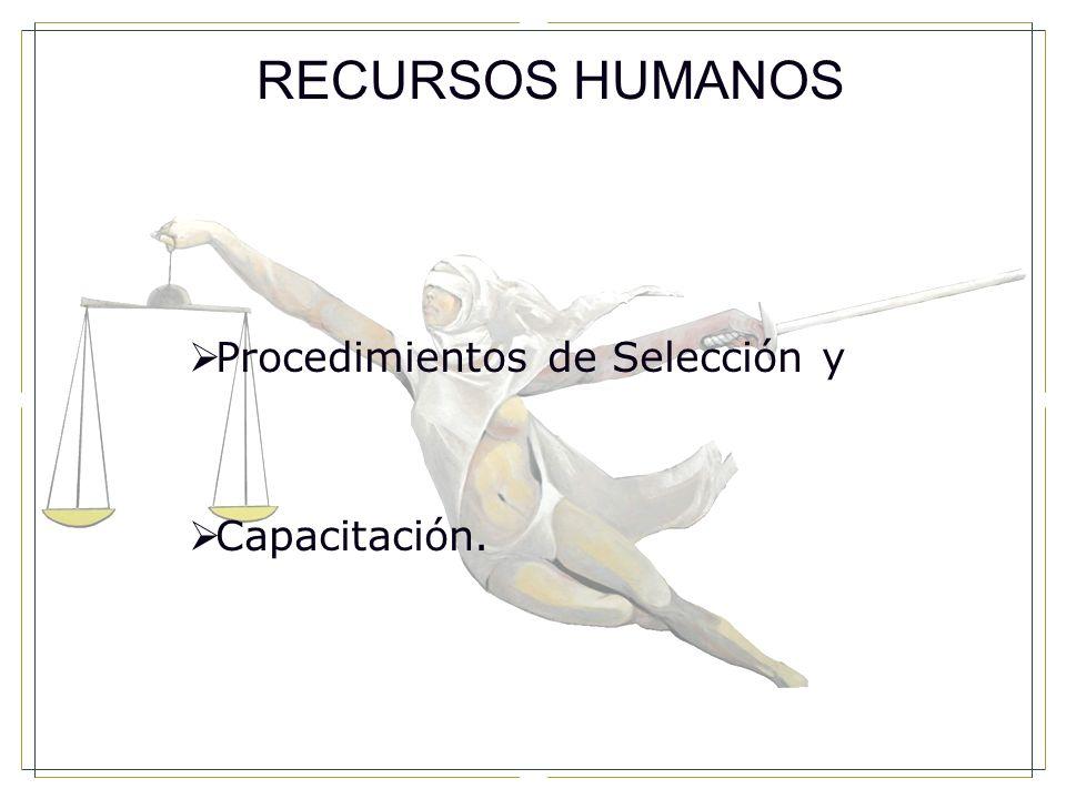 RECURSOS HUMANOS Procedimientos de Selección y Capacitación.