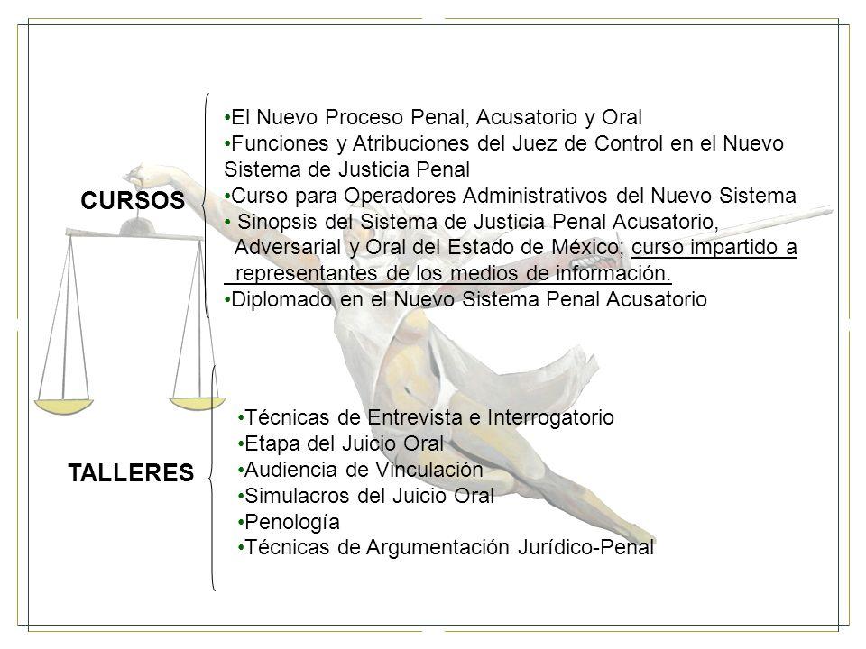 CURSOS El Nuevo Proceso Penal, Acusatorio y Oral Funciones y Atribuciones del Juez de Control en el Nuevo Sistema de Justicia Penal Curso para Operadores Administrativos del Nuevo Sistema Sinopsis del Sistema de Justicia Penal Acusatorio, Adversarial y Oral del Estado de México; curso impartido a representantes de los medios de información.