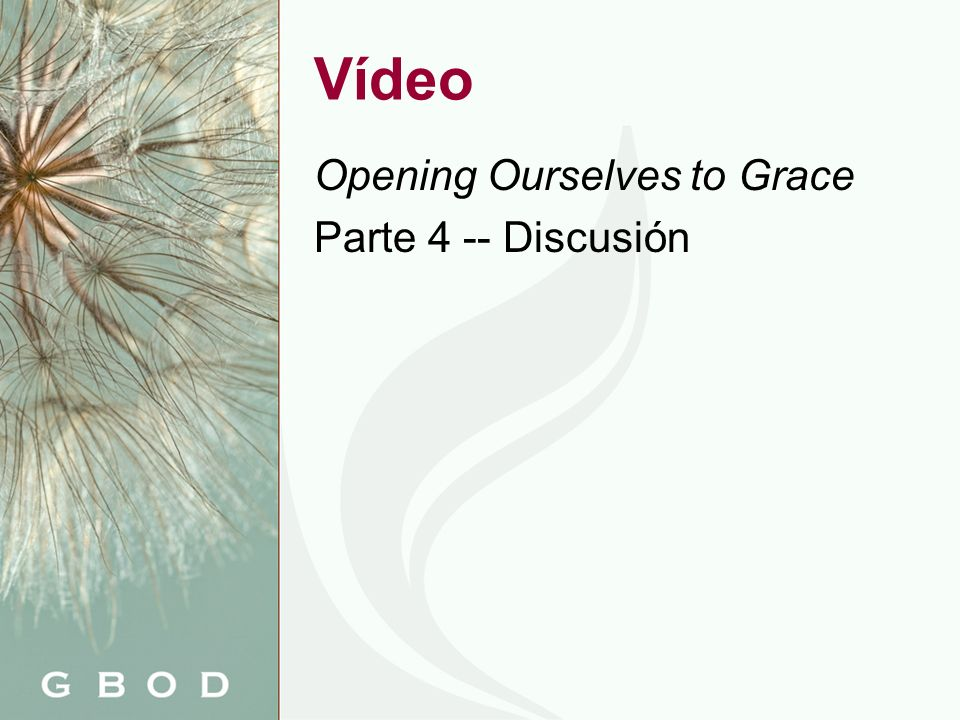 Vídeo Opening Ourselves to Grace Parte 4 -- Discusión