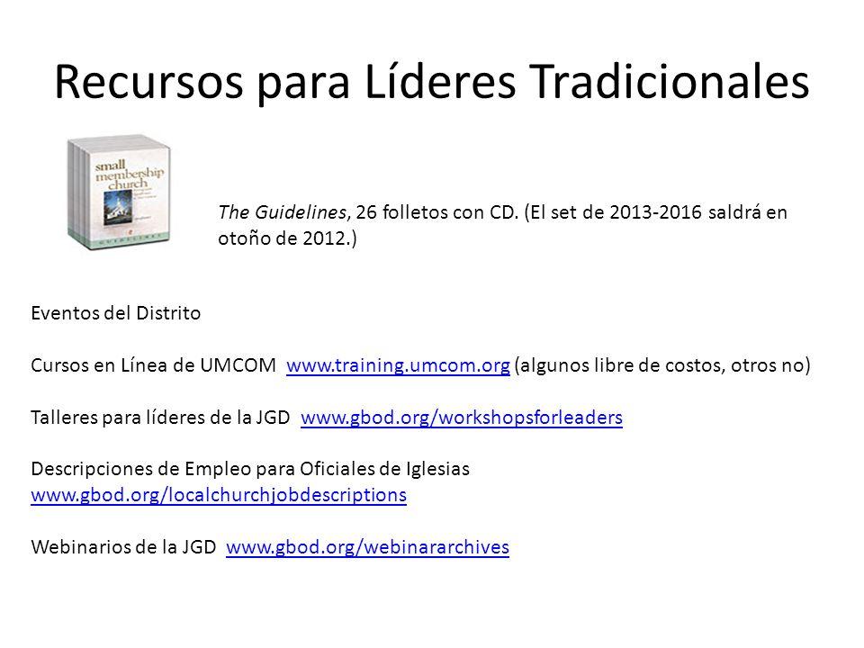 Recursos para Líderes Tradicionales Eventos del Distrito Cursos en Línea de UMCOM www.training.umcom.org (algunos libre de costos, otros no)www.traini