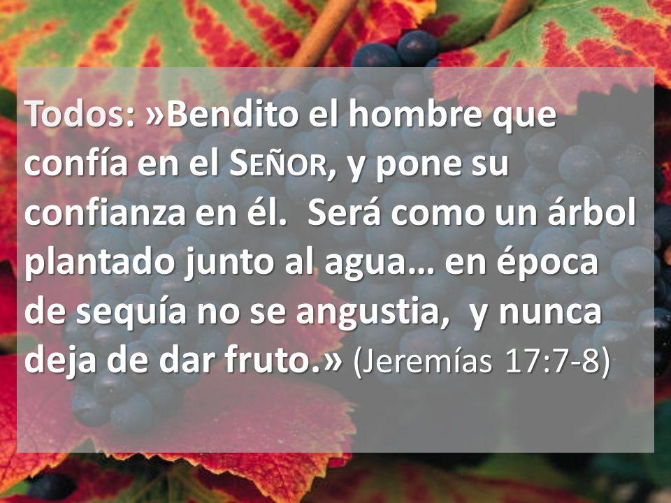 Todos: »Bendito el hombre que confía en el S EÑOR, y pone su confianza en él. Será como un árbol plantado junto al agua… en época de sequía no se angu