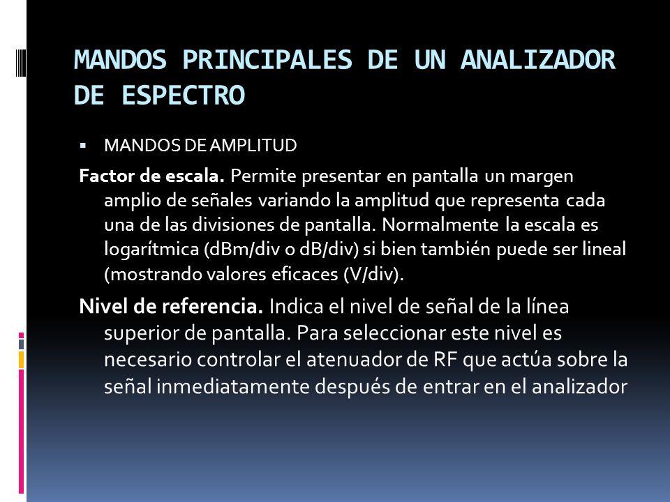 MANDOS PRINCIPALES DE UN ANALIZADOR DE ESPECTRO MANDOS DE AMPLITUD Factor de escala. Permite presentar en pantalla un margen amplio de señales variand