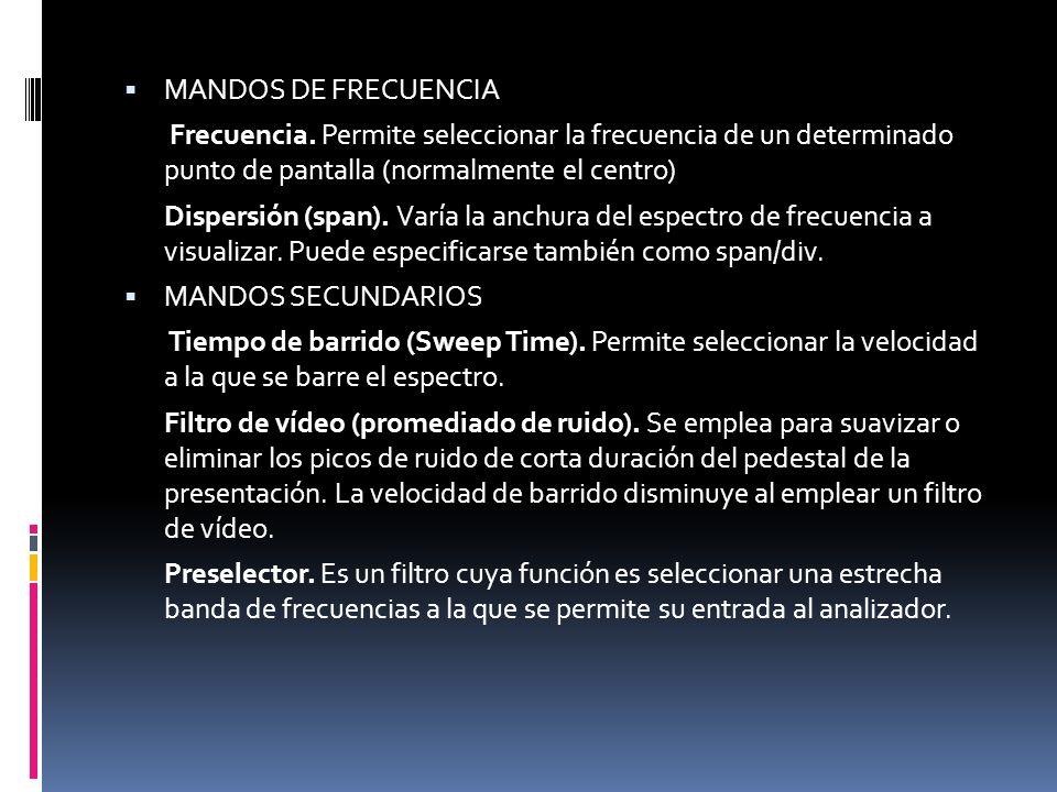 MANDOS DE FRECUENCIA Frecuencia. Permite seleccionar la frecuencia de un determinado punto de pantalla (normalmente el centro) Dispersión (span). Varí