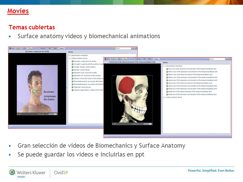 Movies Gran selección de videos de Biomechanics y Surface Anatomy Se puede guardar los videos e incluirlas en ppt Temas cubiertas Surface anatomy videos y biomechanical animations