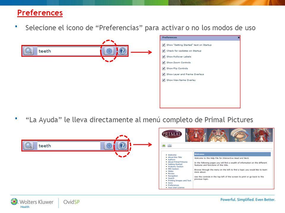 Preferences Selecione el icono de Preferencias para activar o no los modos de uso La Ayuda le lleva directamente al menú completo de Primal Pictures