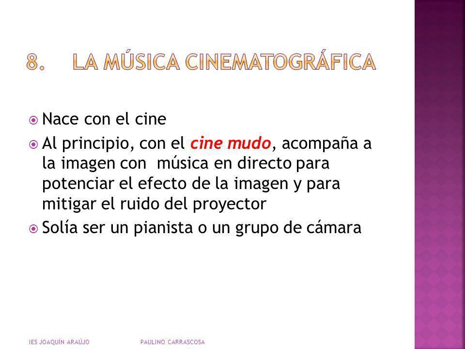 Nace con el cine Al principio, con el cine mudo, acompaña a la imagen con música en directo para potenciar el efecto de la imagen y para mitigar el ru