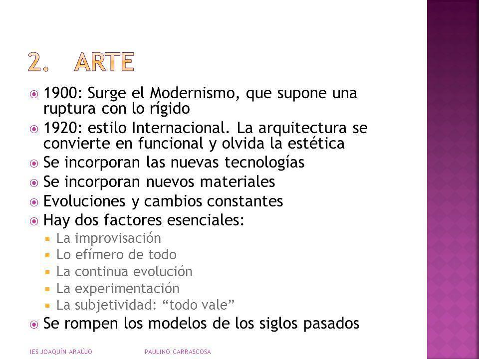 1900: Surge el Modernismo, que supone una ruptura con lo rígido 1920: estilo Internacional. La arquitectura se convierte en funcional y olvida la esté