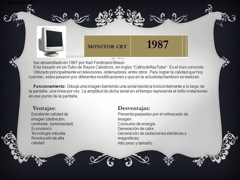 Monitores CRT: fue desarrollado en 1987 por Karl Ferdinand Braun. Est á basado en un Tubo de Rayos Cat ó dicos, en ingl é s CathodeRayTube. Es el m á