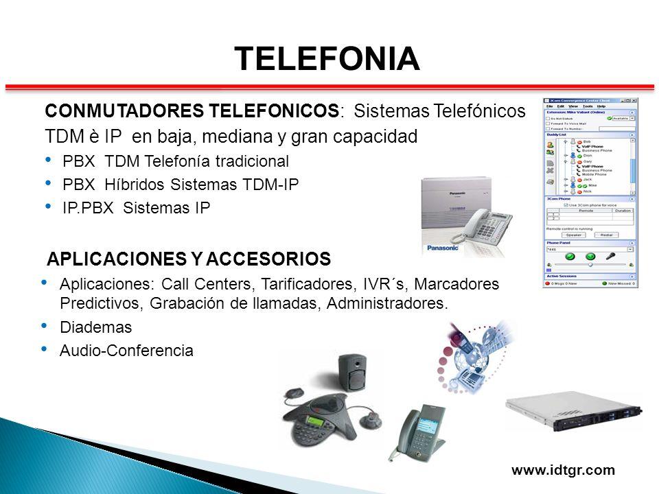 TELEFONIA CONMUTADORES TELEFONICOS: Sistemas Telefónicos TDM è IP en baja, mediana y gran capacidad PBX TDM Telefonía tradicional PBX Híbridos Sistema