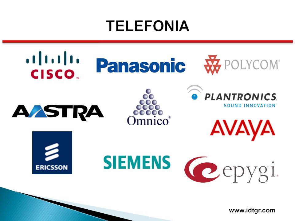 EQUIPOS ACTIVOS EQUIPOS ACTIVOS son los encargados de la transmisión activa de la información así como la integración y conexión de Redes y Dispositivos Switchs Routers Lan/Wan/Man Multiplexores Equipos Ópticos Convertidores de Medios Administradores de Red Firewall www.idtgr.com
