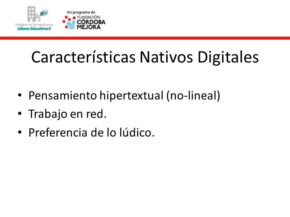 Características Nativos Digitales Pensamiento hipertextual (no-lineal) Trabajo en red.