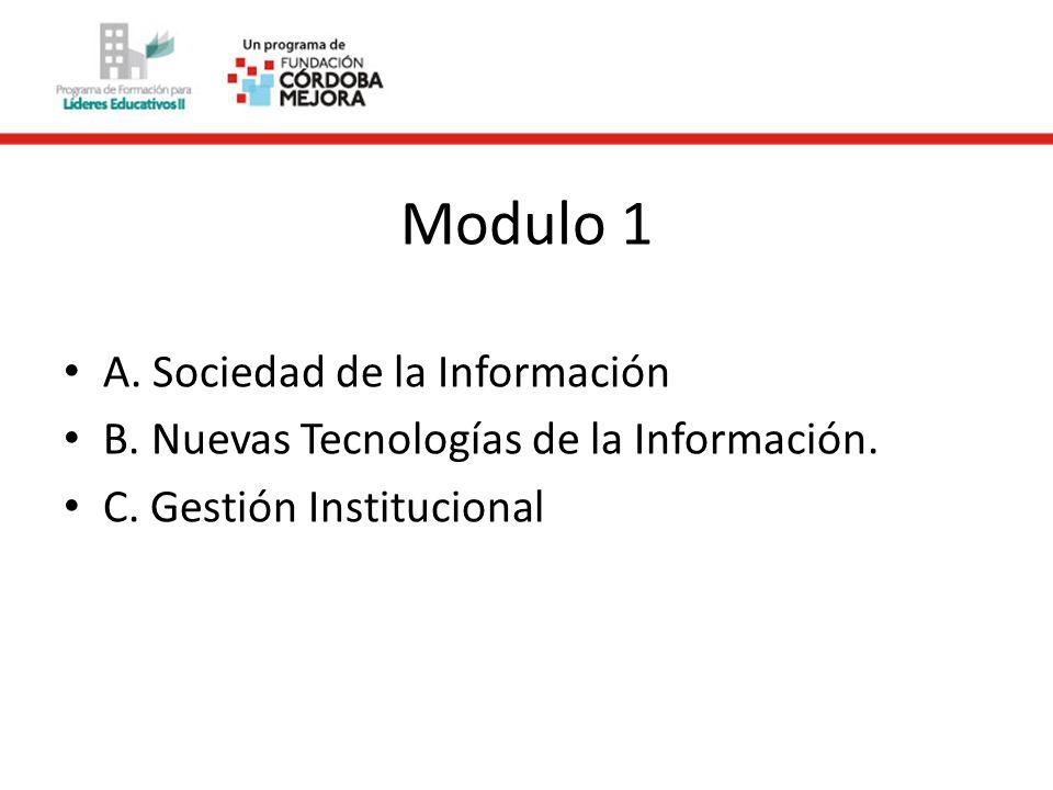 Modulo 2 A. La gestión institucional. Procesos de información. B. Medios y escuela. C. Internet