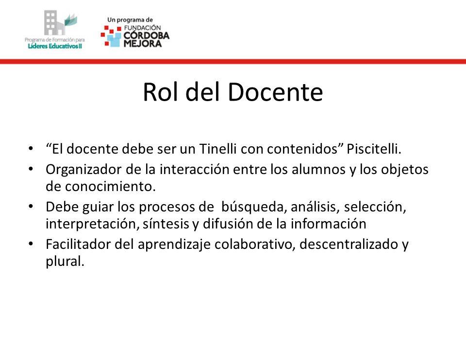 Rol del Docente El docente debe ser un Tinelli con contenidos Piscitelli. Organizador de la interacción entre los alumnos y los objetos de conocimient