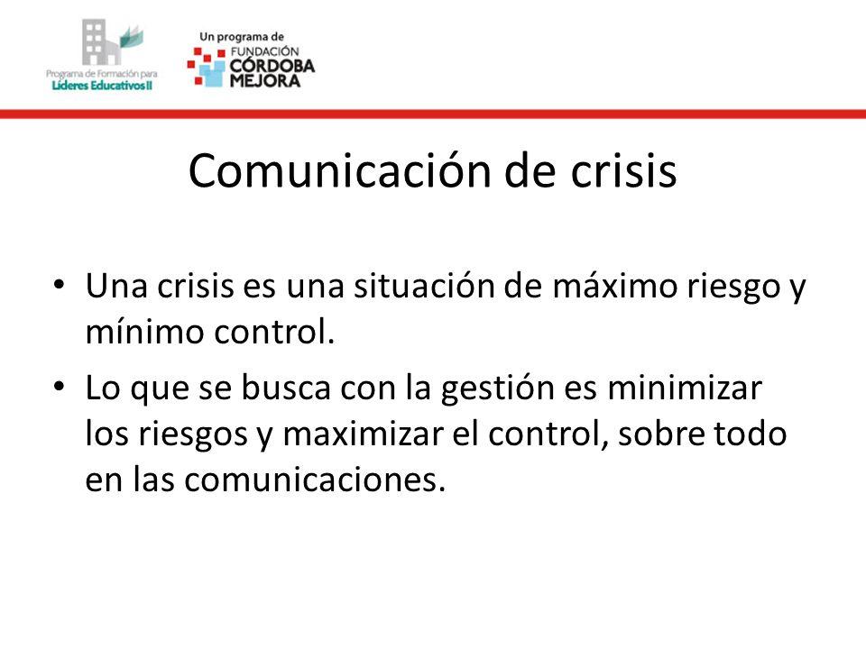 Comunicación de crisis Una crisis es una situación de máximo riesgo y mínimo control.
