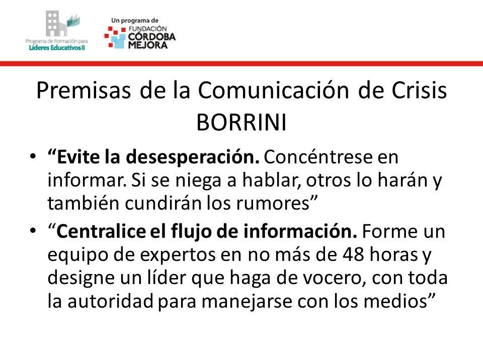 Premisas de la Comunicación de Crisis BORRINI Evite la desesperación.