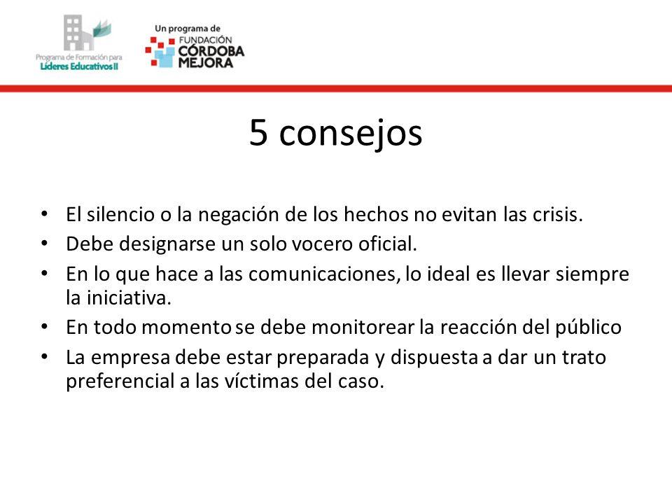 5 consejos El silencio o la negación de los hechos no evitan las crisis.