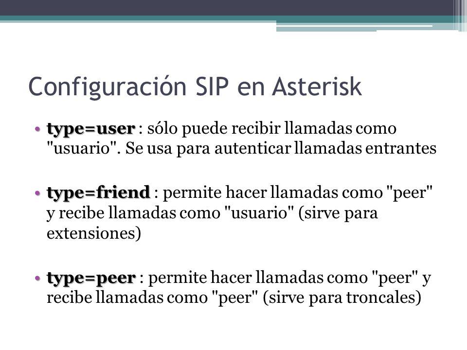 Configuración SIP en Asterisk type=usertype=user : sólo puede recibir llamadas como