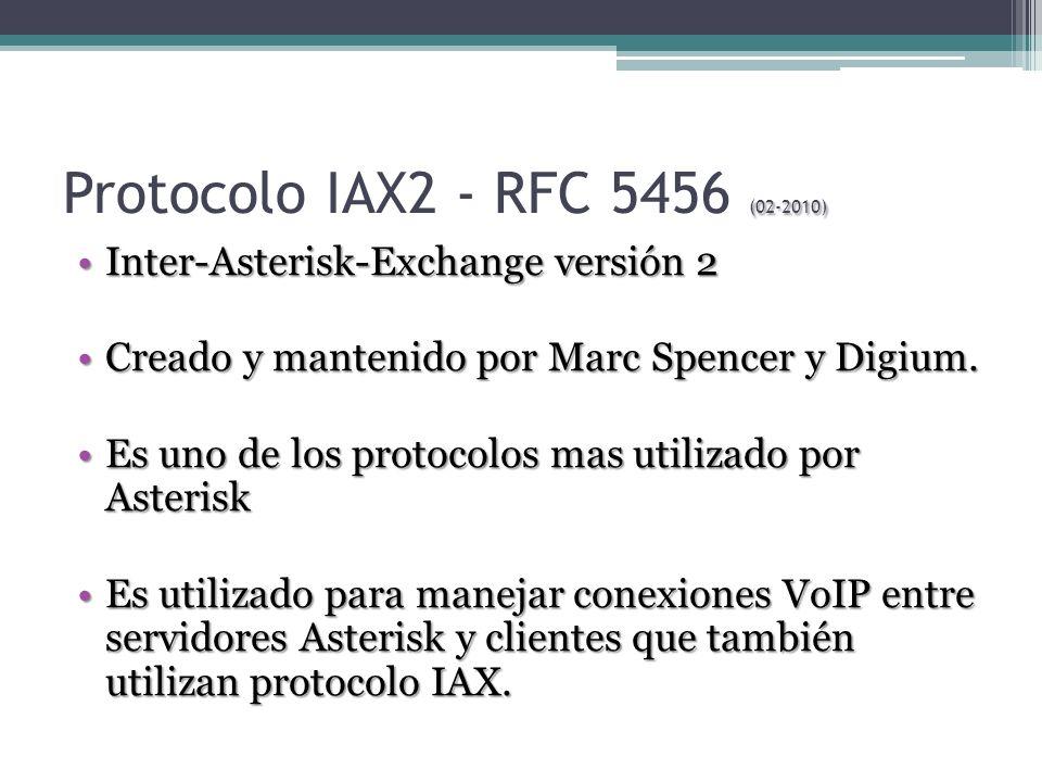 (02-2010) Protocolo IAX2 - RFC 5456 (02-2010) Inter-Asterisk-Exchange versión 2Inter-Asterisk-Exchange versión 2 Creado y mantenido por Marc Spencer y