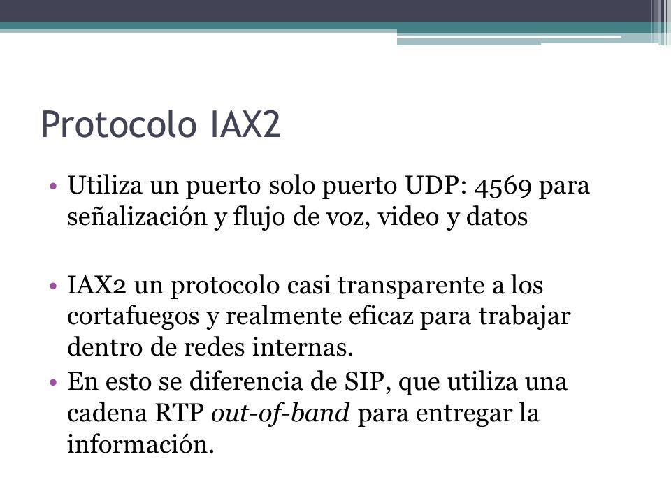 Protocolo IAX2 Utiliza un puerto solo puerto UDP: 4569 para señalización y flujo de voz, video y datos IAX2 un protocolo casi transparente a los corta