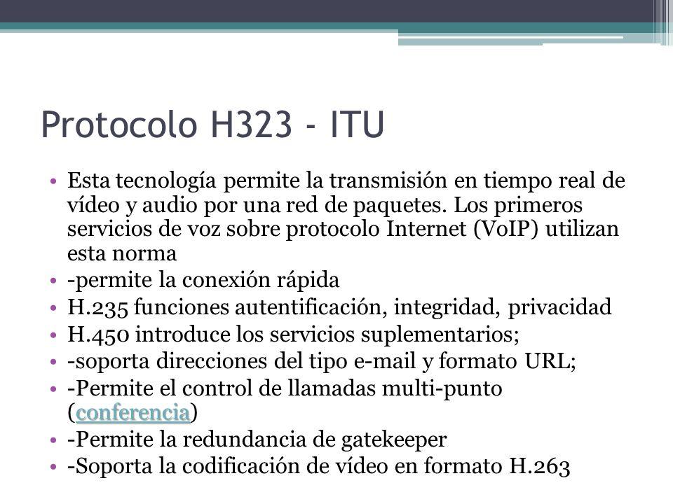 Protocolo H323 - ITU Esta tecnología permite la transmisión en tiempo real de vídeo y audio por una red de paquetes. Los primeros servicios de voz sob